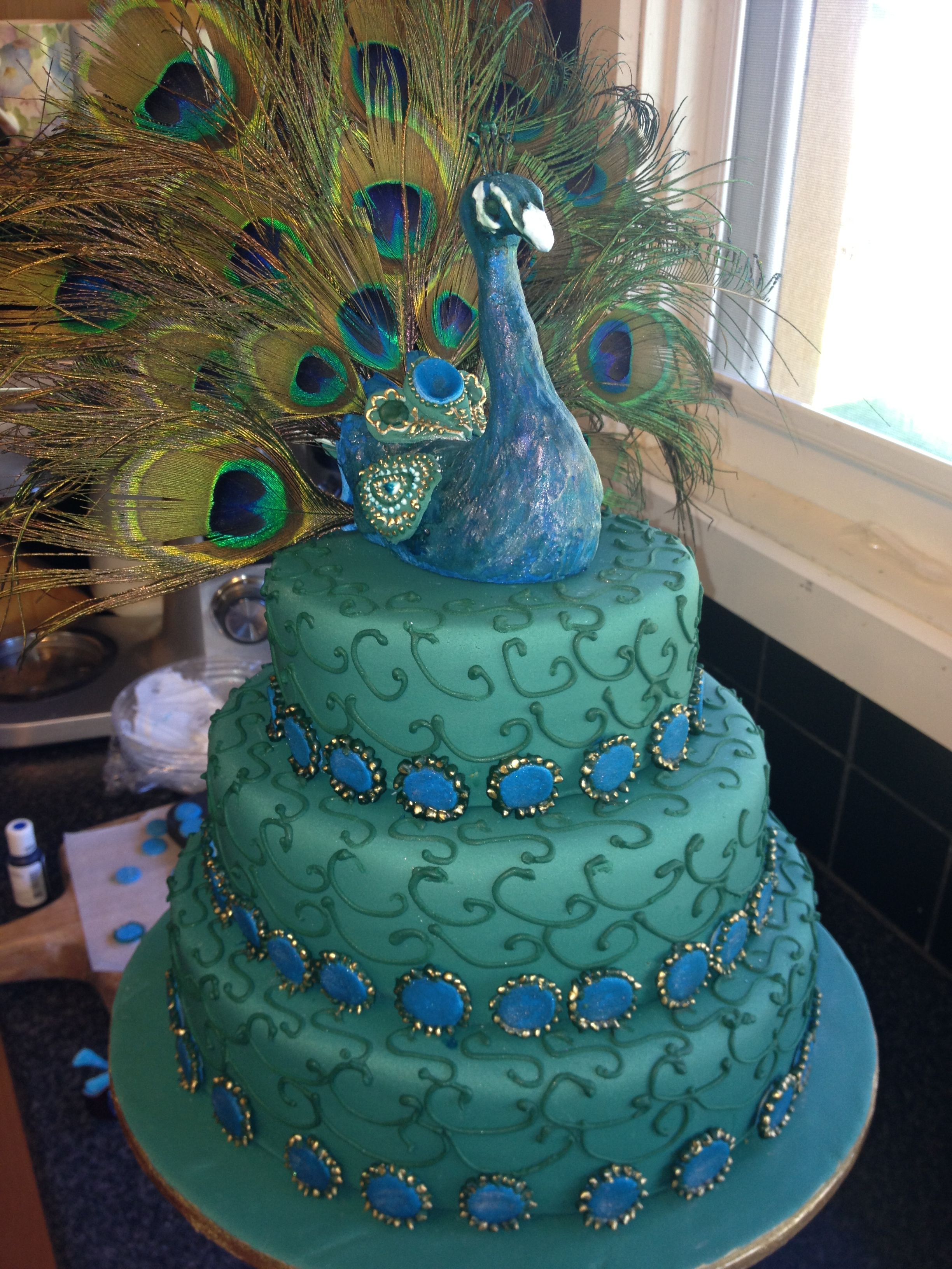 Rainbow Quinceanera Cake With Flowers On Top
