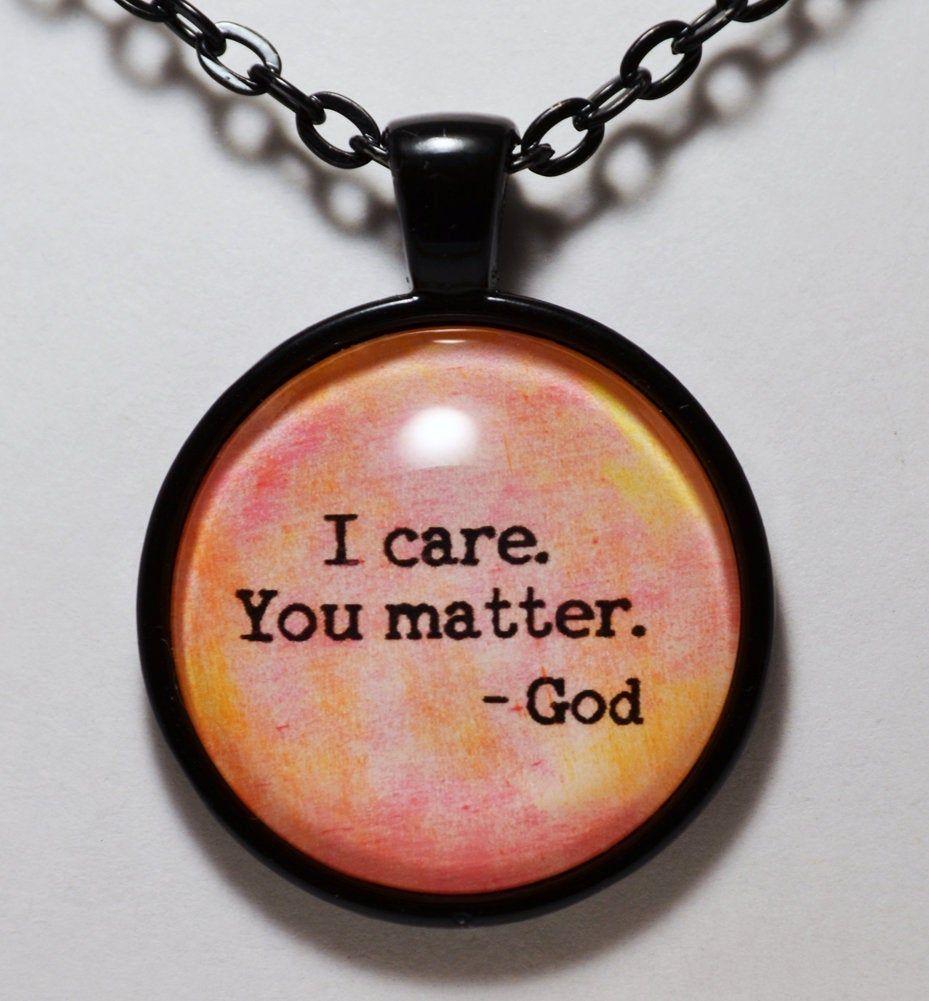 CLOSING SHOP SALE I Care You Matter God Pendant Necklace C L Murphy Creative CLMurphyCreative