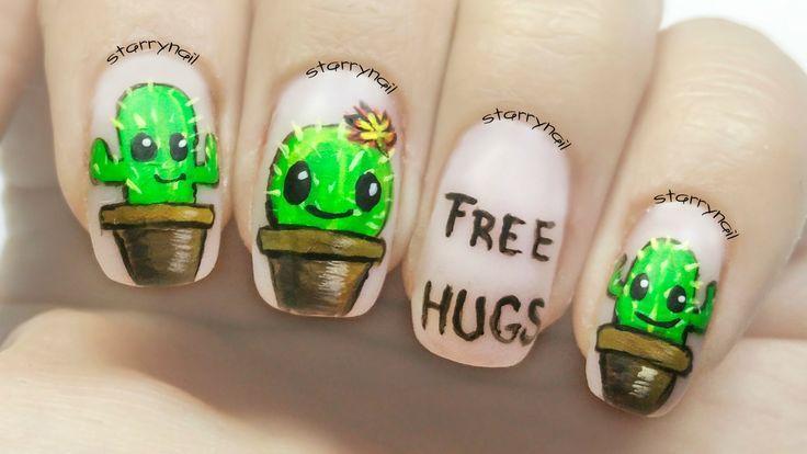 Cute Cactus Nails [Freehand Nail Art]