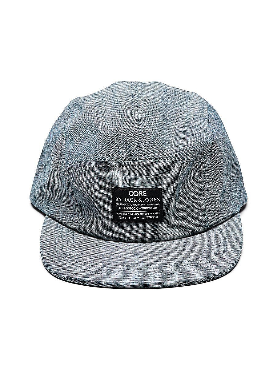 CORE by JACK & JONES - 5-Panel-Cap von CORE - 100 % Baumwolle - Flacher Schirm - Markenlogo-Patch an der Vorderseite - Einstellbare Lasche 100% Baumwolle...
