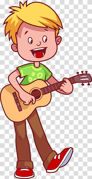 Boy Play Acoustic Guitar Guitar Cartoon Illustration Children Playing Guitar Transparent Background Png Cli Cartoon Illustration School Illustration Clip Art
