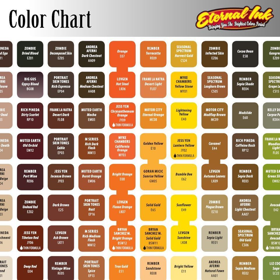 Eternal Ink Tattoo Color Chart In 2020 Tattoo Ink Colors Eternal Tattoo Ink Ink Tattoo
