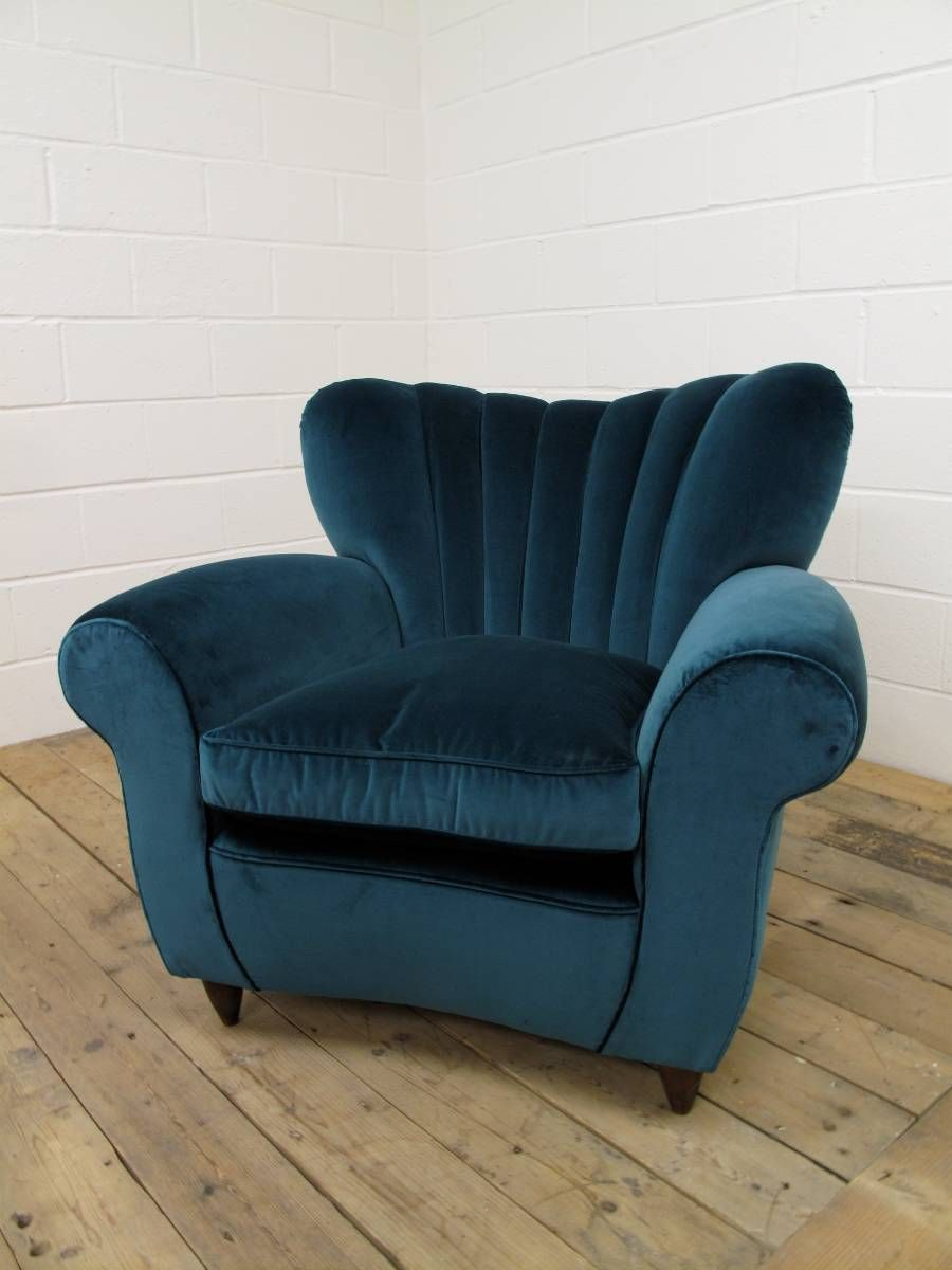 Wonderful Awesome Italian Mid Century Blue Velvet Chair For Great Italian Interior  Design With Rolled Armrest And Solid Birchwood Legs Construction.