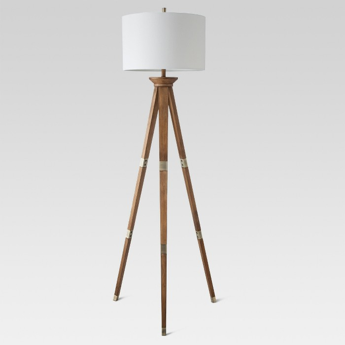 Oak Wood Tripod Floor Lamp Brass Threshold Target Target