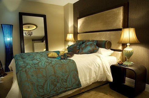 Teal brown bedroom headboard and bedding