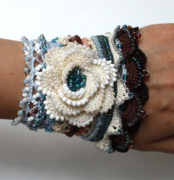 Flower Crochet Bracelet, Crochet Cuff, Crochet Beaded Bracelet ...