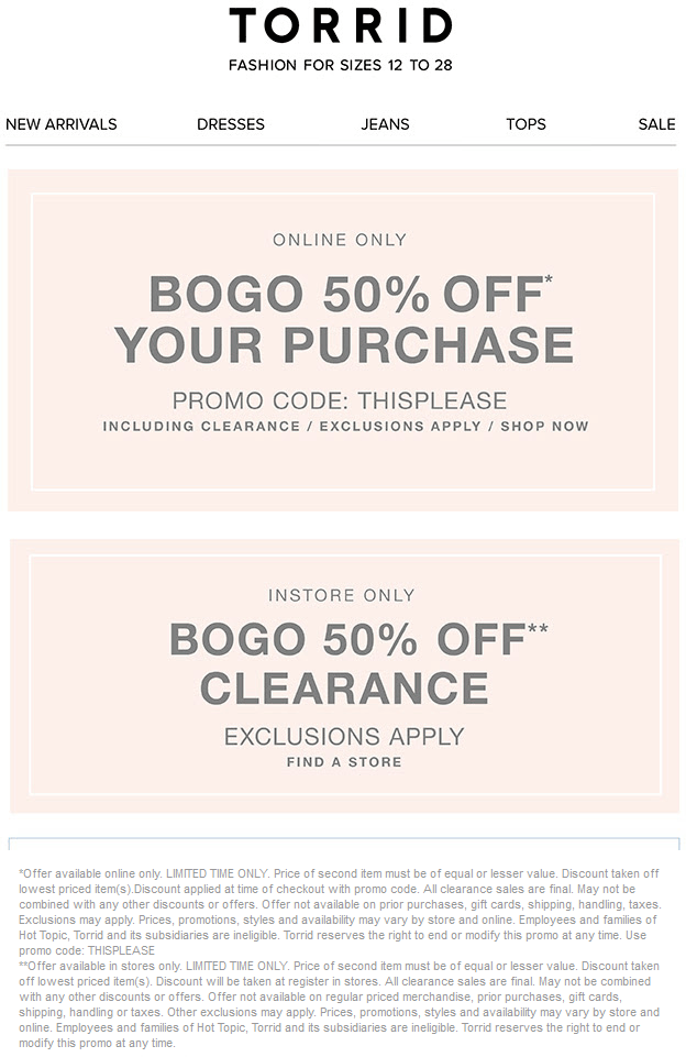 583cc8c61a0 Pinned August 30th  Second clearance item 50% off at  Torrid or any item  online via promo code THISPLEASE  coupon via The  Coupons App