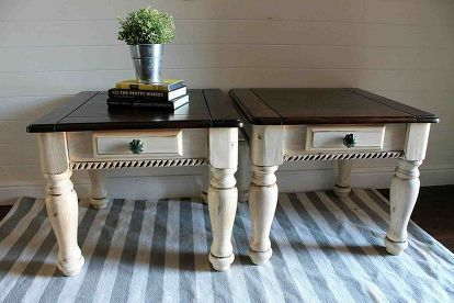 Two Tone Painted Side Tables Painted Side Tables Living Room Side Table Painted End Tables