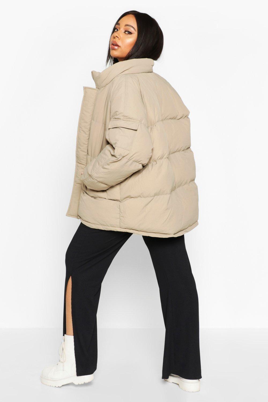Plus Pocket Detail Funnel Neck Puffer Jacket Boohoo Puffer Jackets Puffer Jacket Women Best Puffer Jacket [ 1500 x 1000 Pixel ]