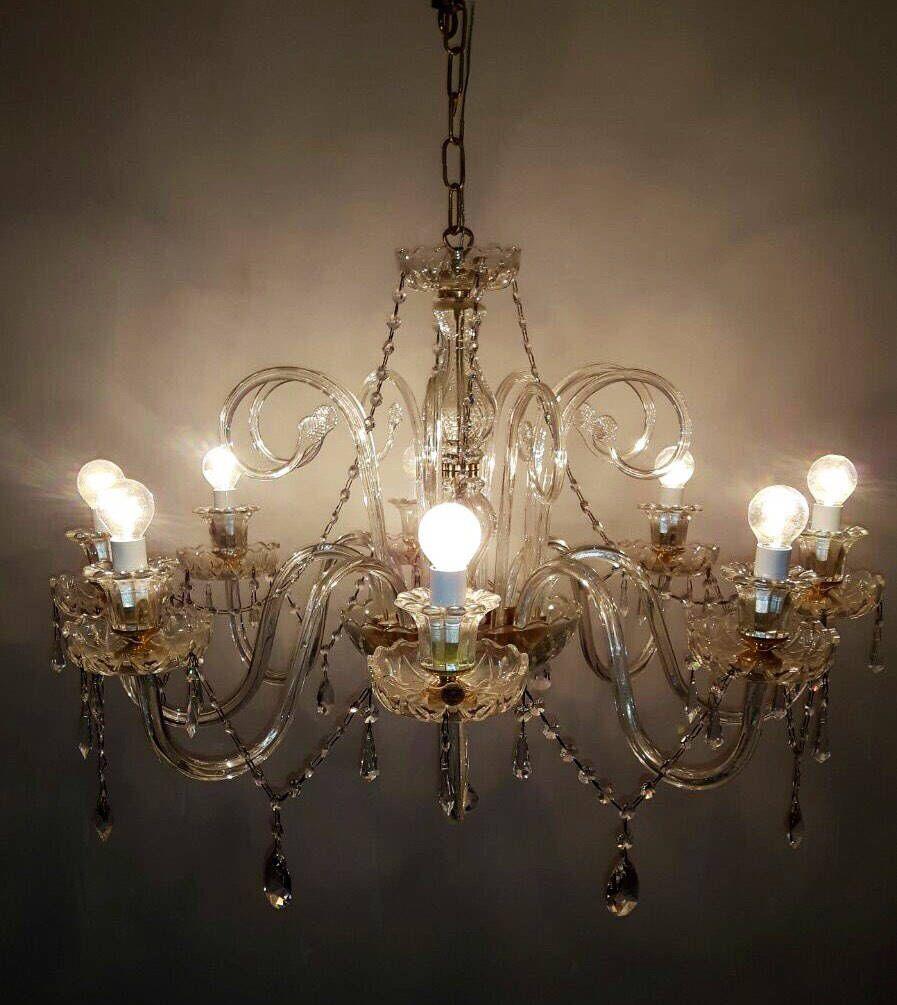 Murano Chandelier Crystal Swag Swarovski Vintage Wiring Comp Usa