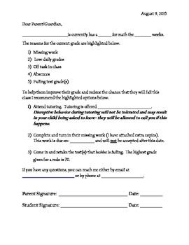 Printable Letter To Parents About Student Failing Class With