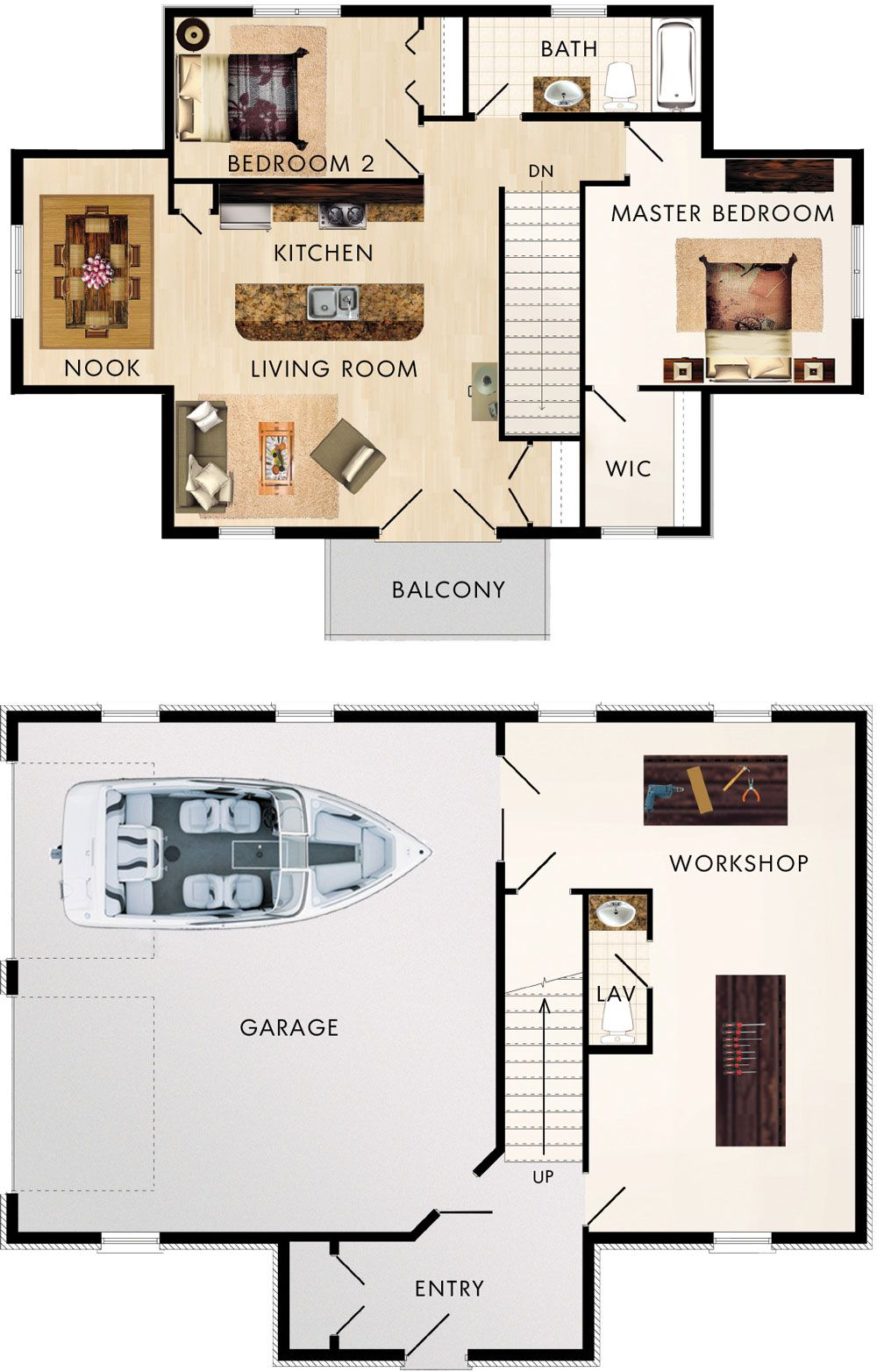 2 bedroom loft  bay garage with space for large vehicles and has a separate