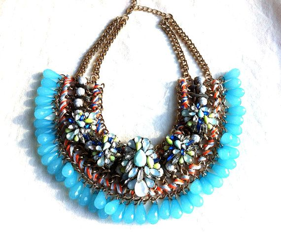 Handcrafted Coral & Blue Beaded Tassel Fringe Upcycled Statement Necklace, with Colourful Fabric and Floral Componants