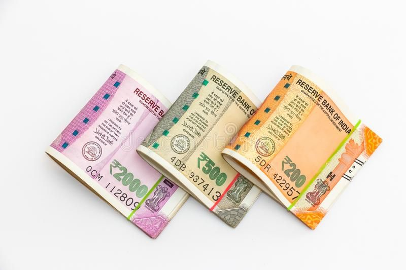 New indian 200 500 and 2000 rupees banknotes on white