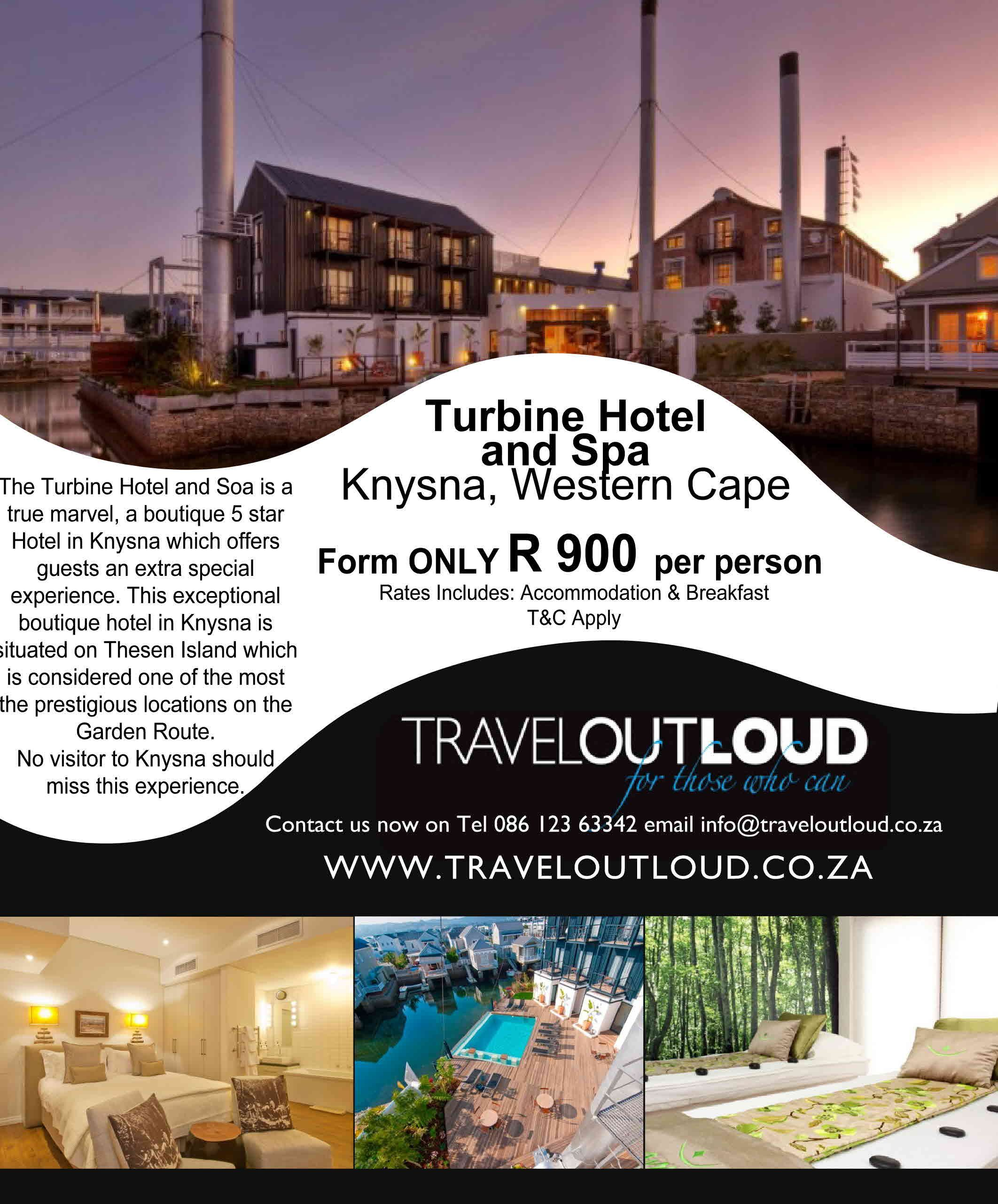 Turbine Hotel and Spa Knysna, Western Cape Form ONLY… R