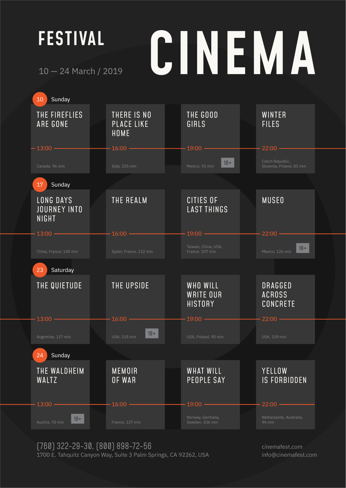 Film festival day schedule template / #event #poster #schedule