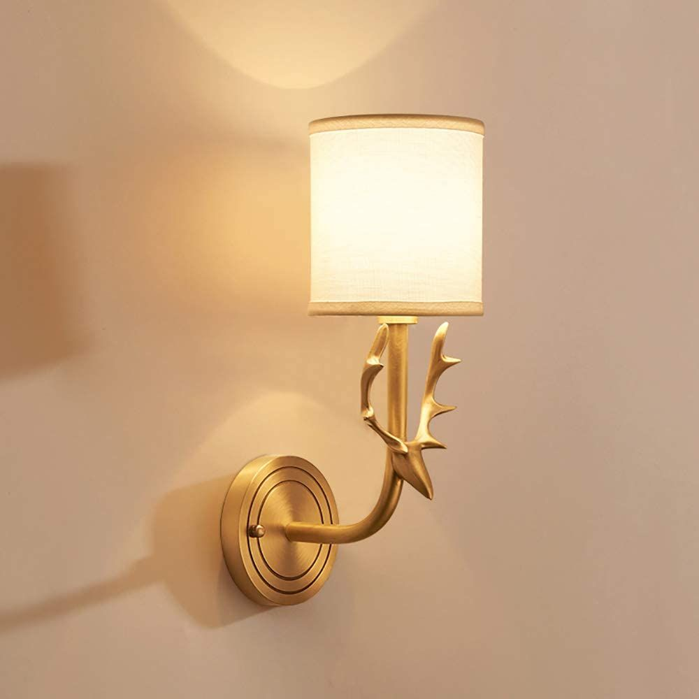 Noxarte Mid Modern Wall Lamp Brushed Brass Wall Sconce With White Fabric Shade Gold Wall Light For Bedroom Living Modern Wall Lamp Wall Lamp Brass Wall Sconce