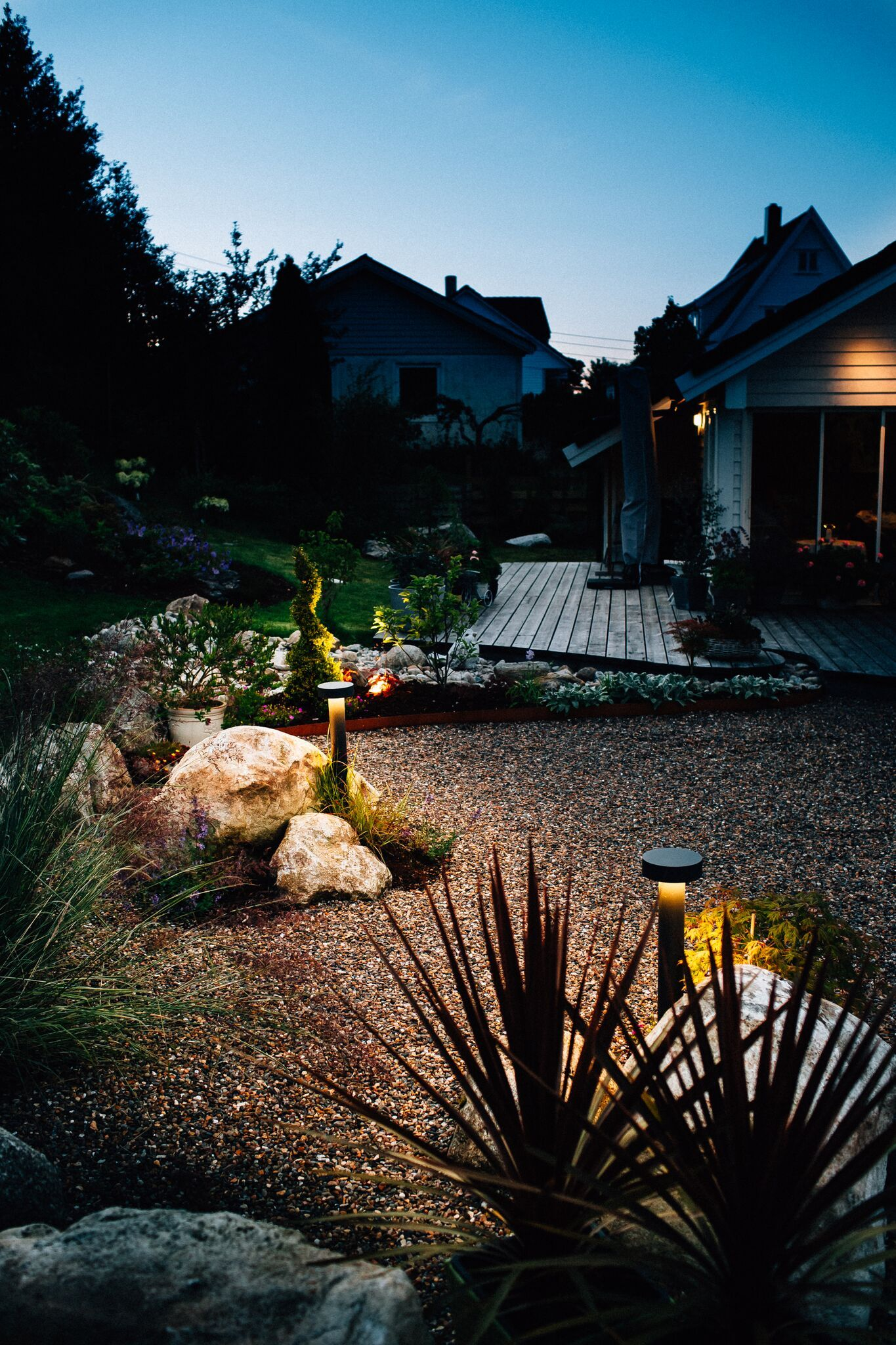 Indirect lighting gives a nice glow to a garden space