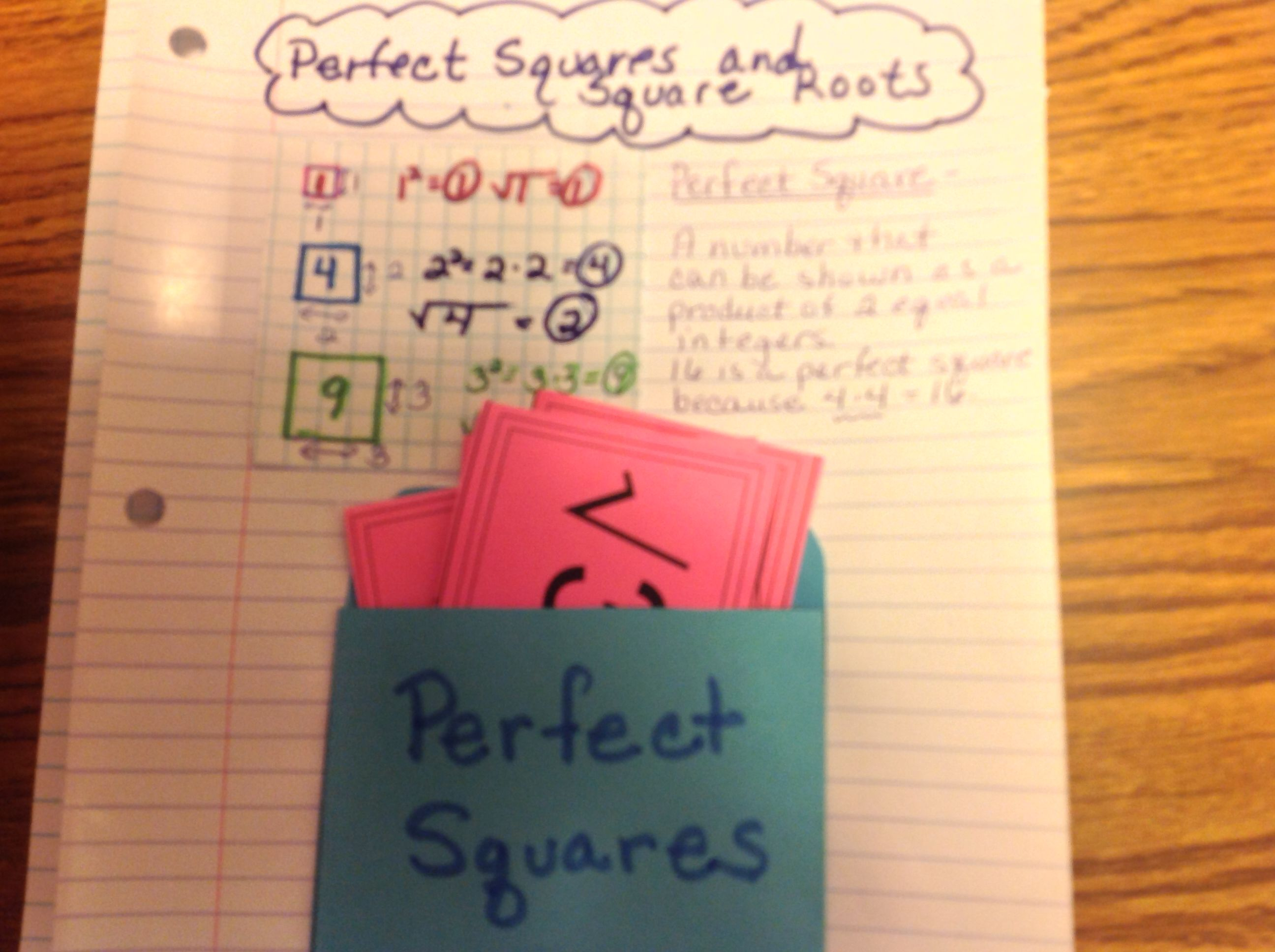 Perfect Squares And Square Roots For Inb Math Foldables Middle School Math Interactive Notebook Education Math [ 1936 x 2592 Pixel ]