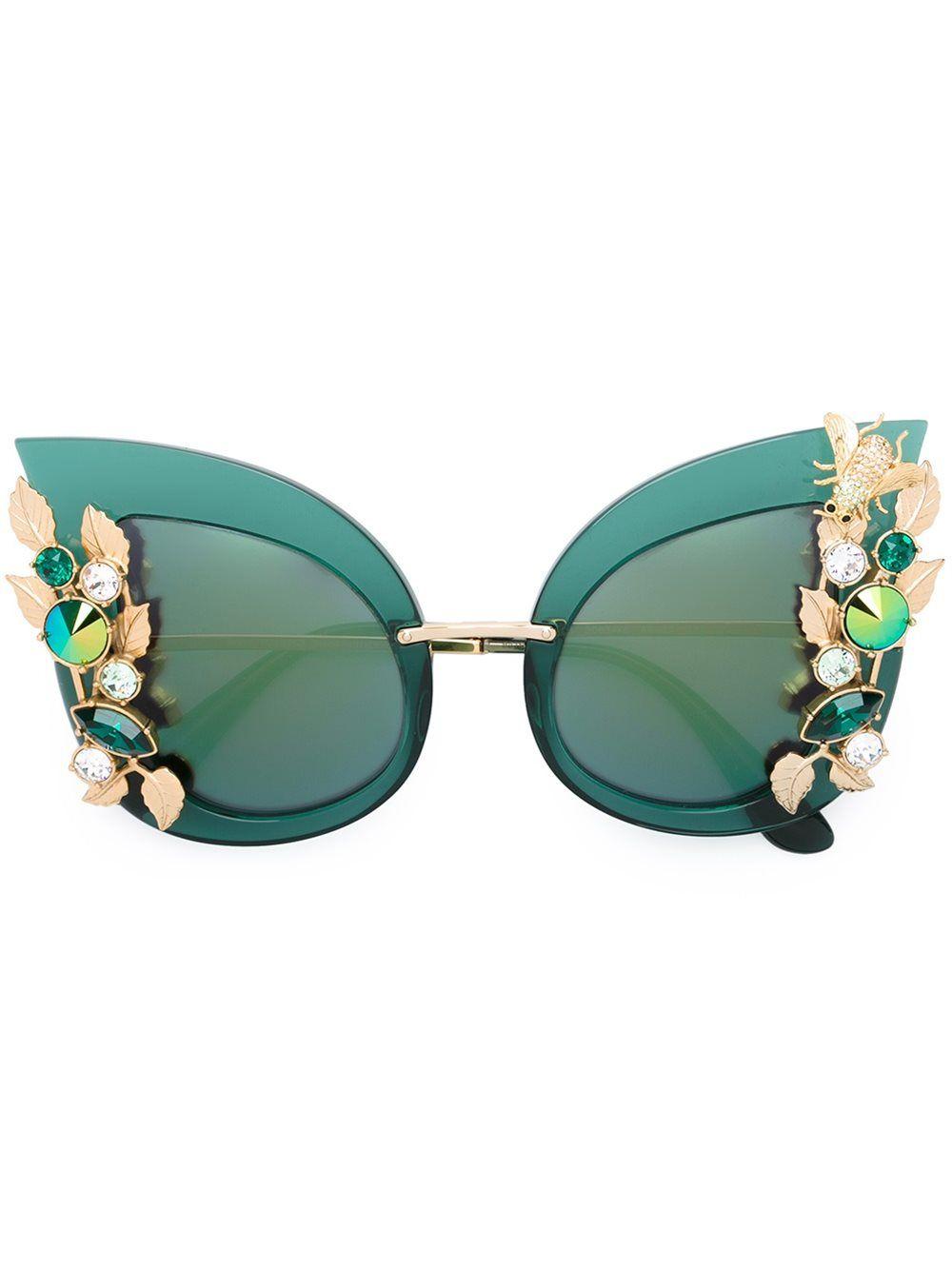 deb164a3df98 Dolce  amp  Gabbana embellished sunglasses Dolce Gabbana Lunettes