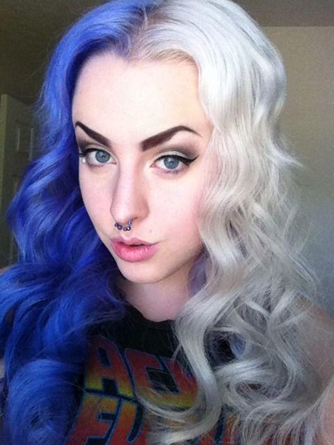 Half Purple Half Blonde Dyed Alternative Hair Half Dyed