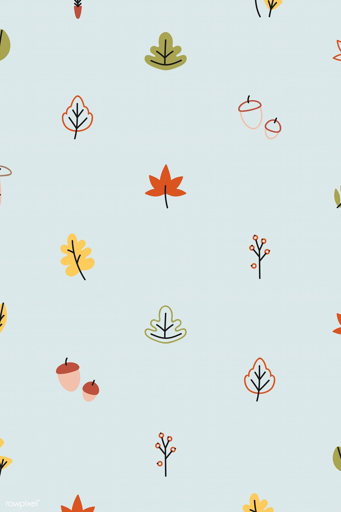 Colorful Leaves On A Blue Wallpaper Vector Free Image By Rawpixel Com Katie Moir Vector Free Colorful Leaves Blue Wallpapers