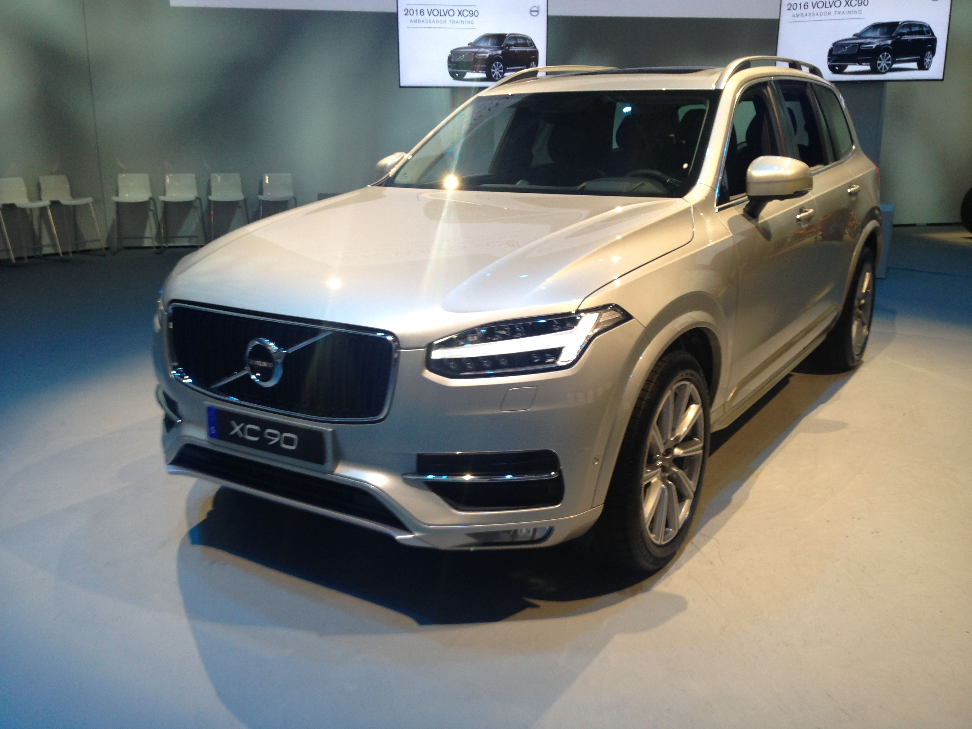 A front end view of the new 2016 volvo xc90 this color is the luminous