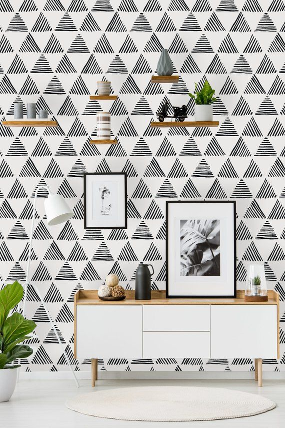 Removable Wallpaper Peel and Stick Wallpaper Self Adhesive Wallpaper Geometric Pattern with Striped