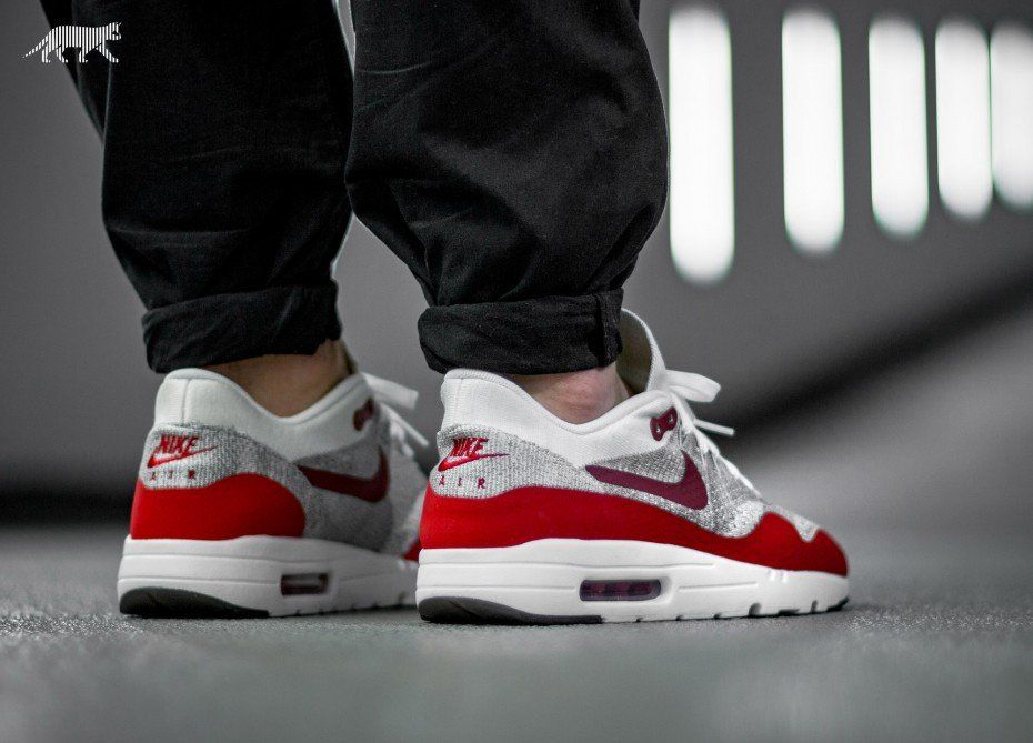 info for da89d 010e9 Nike Air Max 1 Ultra Flyknit (White   University Red - Pure Platinum - Cool  Grey)