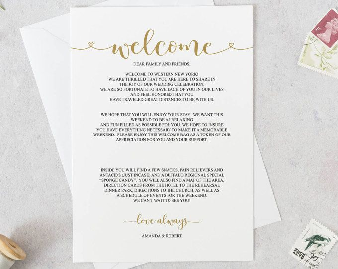 Wedding Welcome Letter Template Wedding Itinerary Welcome