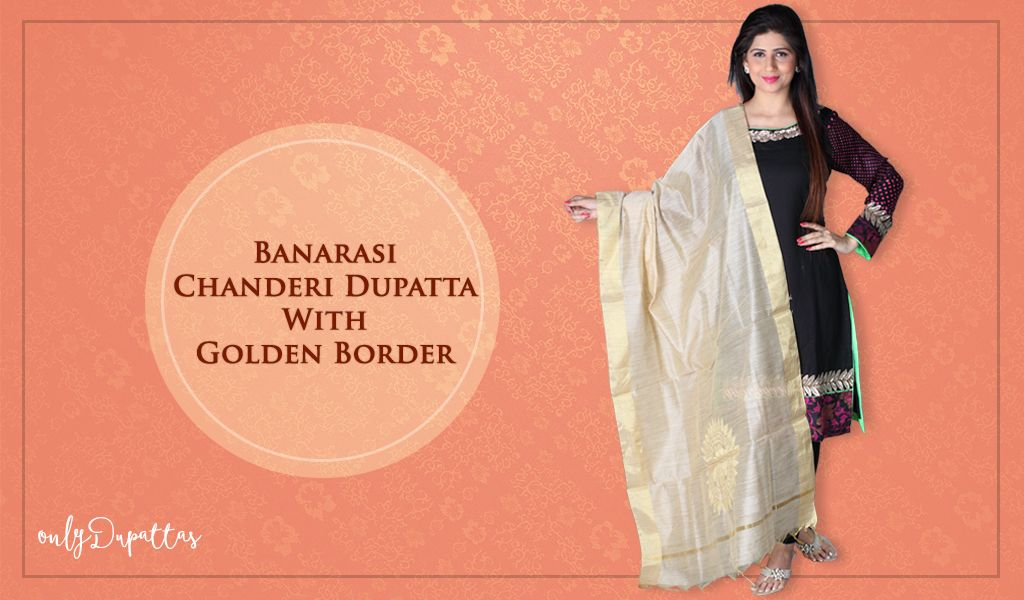 There is #Beauty in #Simplicity! Look simple with Banarasi Chanderi golden border #Dupatta - http://ow.ly/yzN6301c5Vh