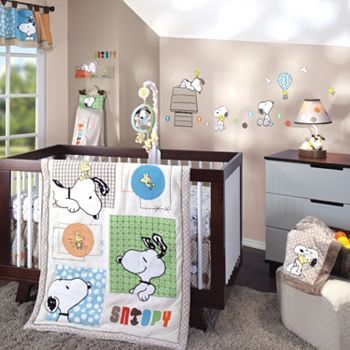 We Have Snoopy Crib Bedding In Stock At The Moment Tan Blue And Green For Baby Come See It Displayed One Of Our Cribs