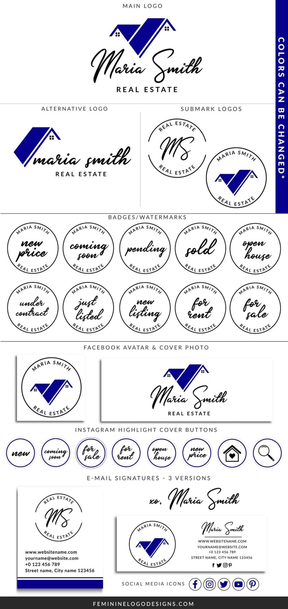 Real estate logo design, Blue real estate branding