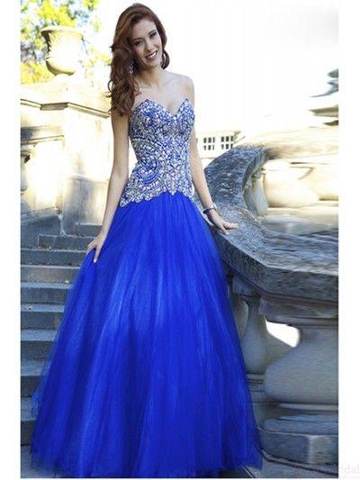 Rynstone Sweetheart Blue Prom Dress