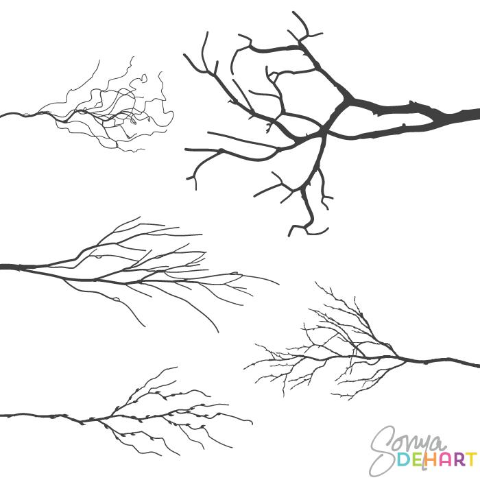 Vector Realistic Tree Branches Clip Art Set Craft Room Art