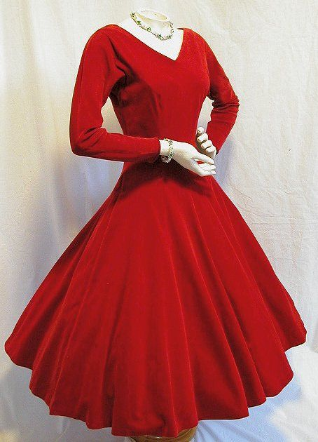 ce88c6123f4 PullMyDaisy2  Red velvet VINTAGE dress from early 50 s.