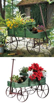 Amish Wagon Decorative Garden Planter
