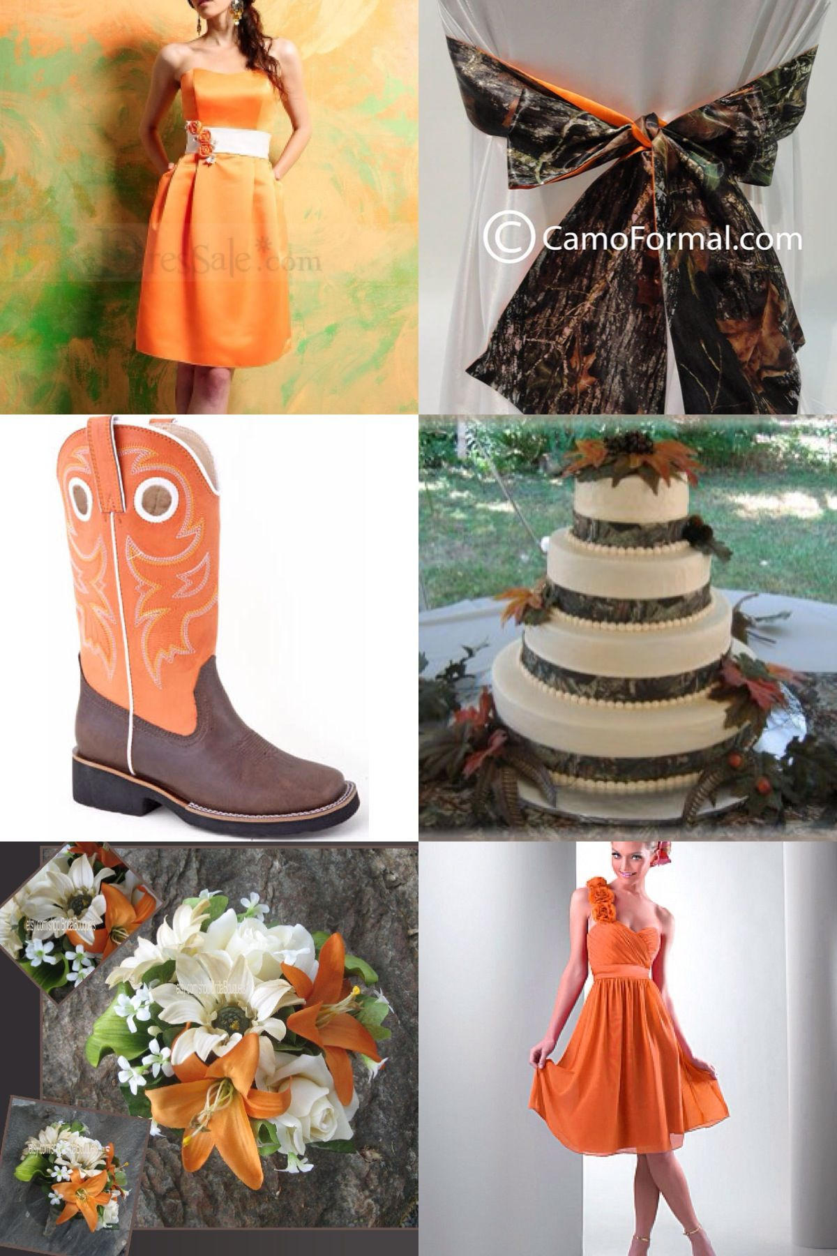 A client is interested in a camo theme. This is how I'd start with it. Brown, orange and a hint of camo. Country but classy! {Mossy oak color scheme!}