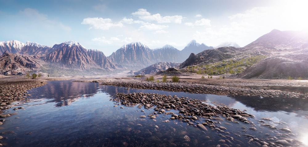 Artstation Unreal Engine Mountain River Landscape Jan Golmic Mountain River Mountains Landscape
