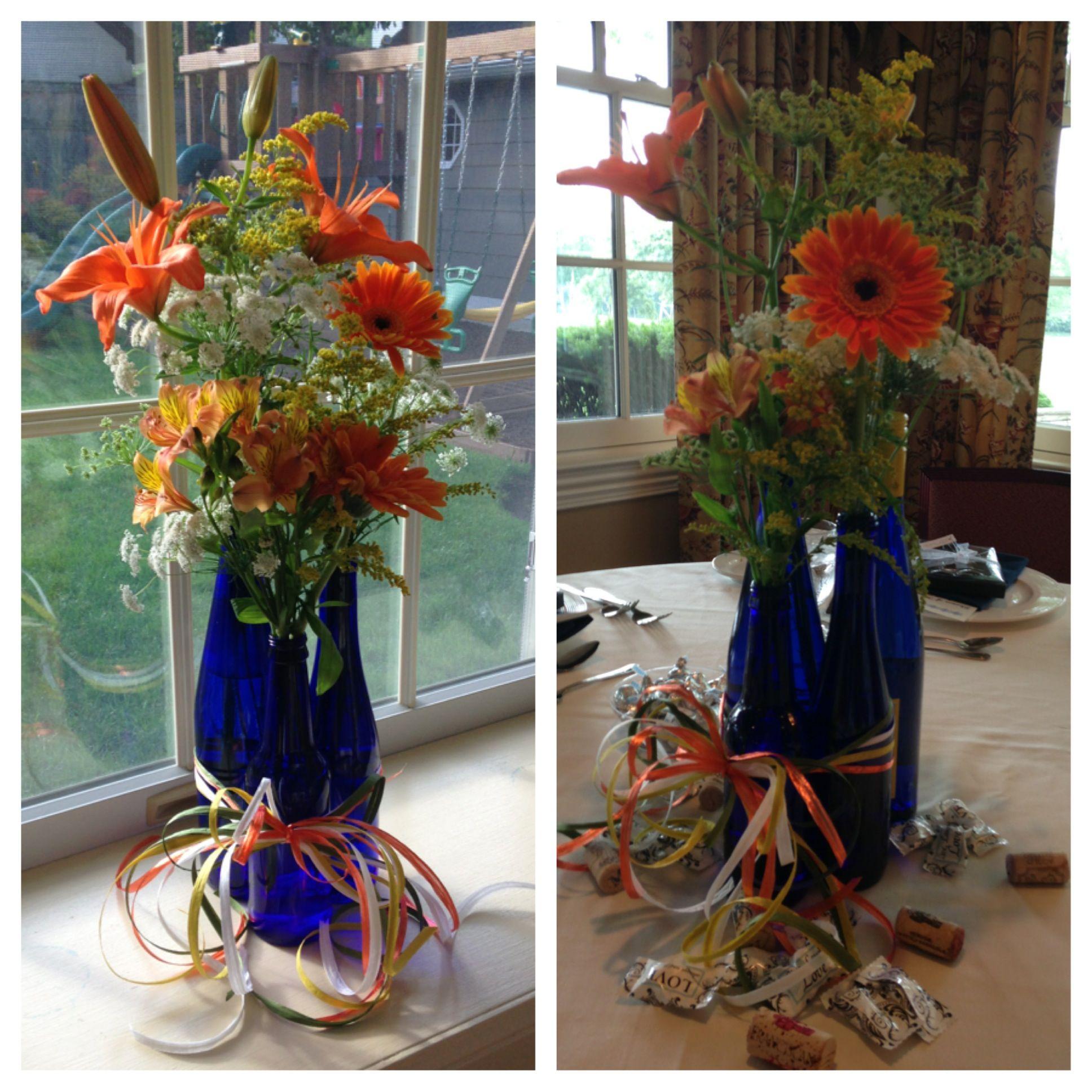 Blue Wine Bottle Vases For Bridal Shower... (Bridesmaids