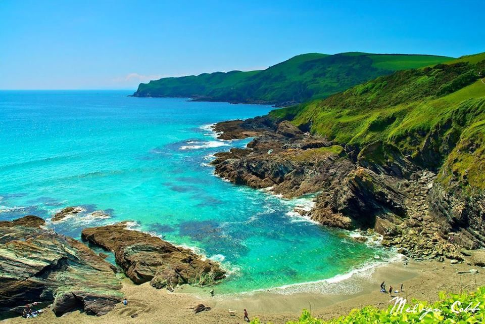 This is beautiful Lansallos, a secluded cove between Polperro and Polruan in South East Cornwall. Photo by Melvyn Cobb.