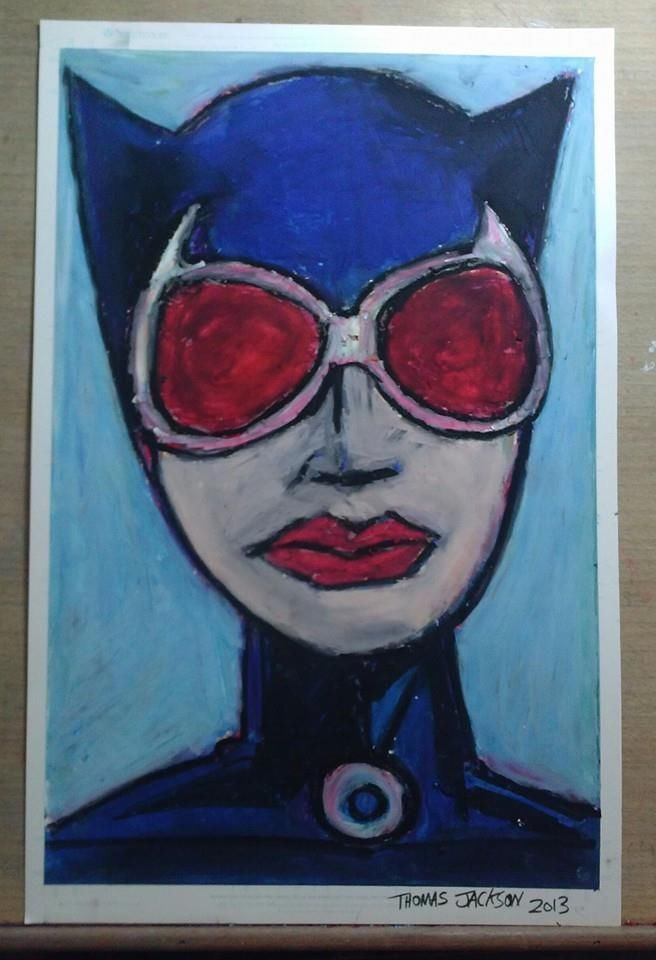 oil pastel drawing of Cat Woman