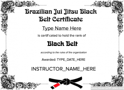 brazilian jiu jitsu black belt template free to customize download print and email hundreds of images to choose from at wwwclevercertificatescom
