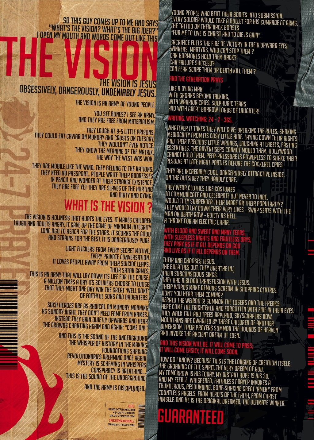 the vision - written in one of the first 24-7 prayer rooms (found in