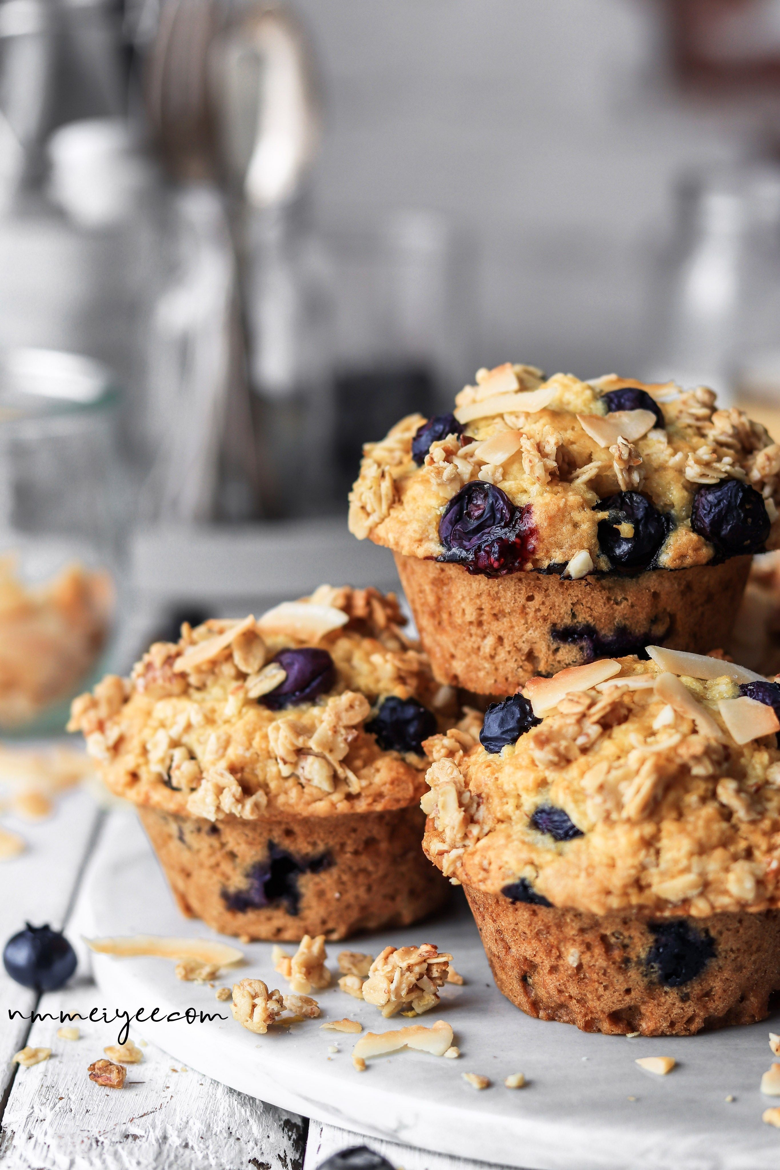 Coconut blueberry muffins vegan glutenfree nm