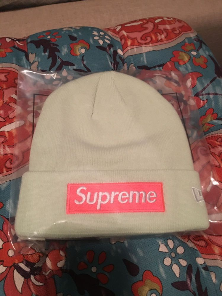 f09f30e3088 Supreme New Era Box Logo Beanie PALE LIME F W 2017 RARE OS Rare Camp Cap Hat  NYC  fashion  clothing  shoes  accessories  mensaccessories  hats (ebay  link)