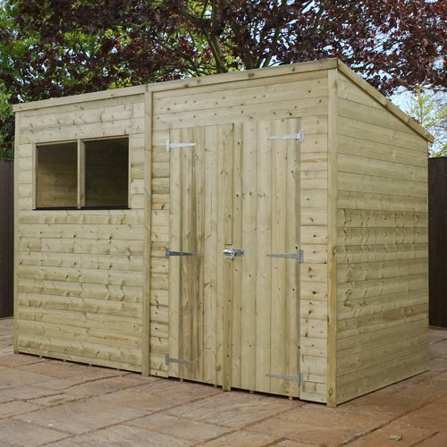 Wfx Utility 10 Ft W X 7 Ft D Shiplap Pent Wooden Shed Wooden Sheds Shed Homes Wooden Double Doors
