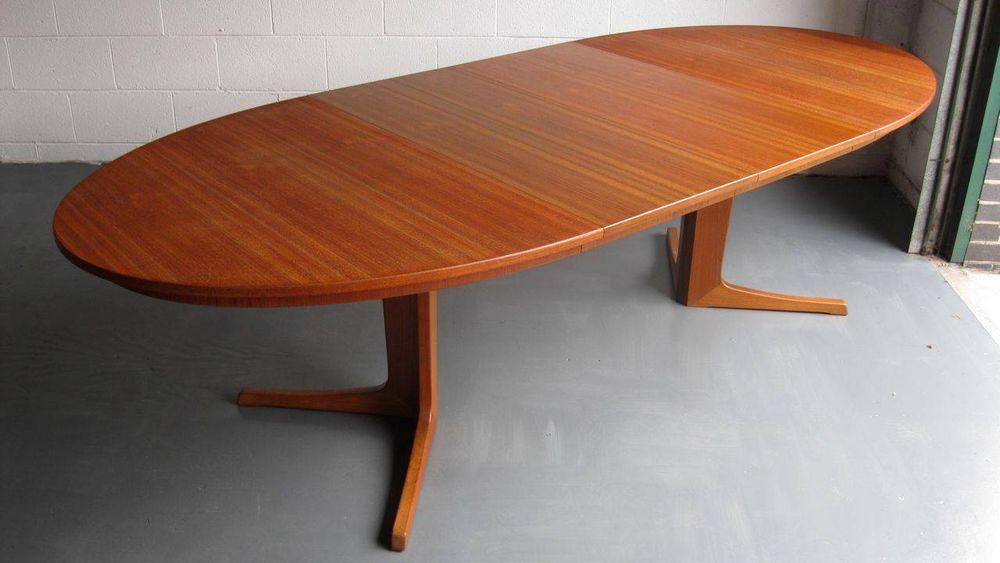 Rare 6039s Danish Teak Oval Extending Dining Table Danish