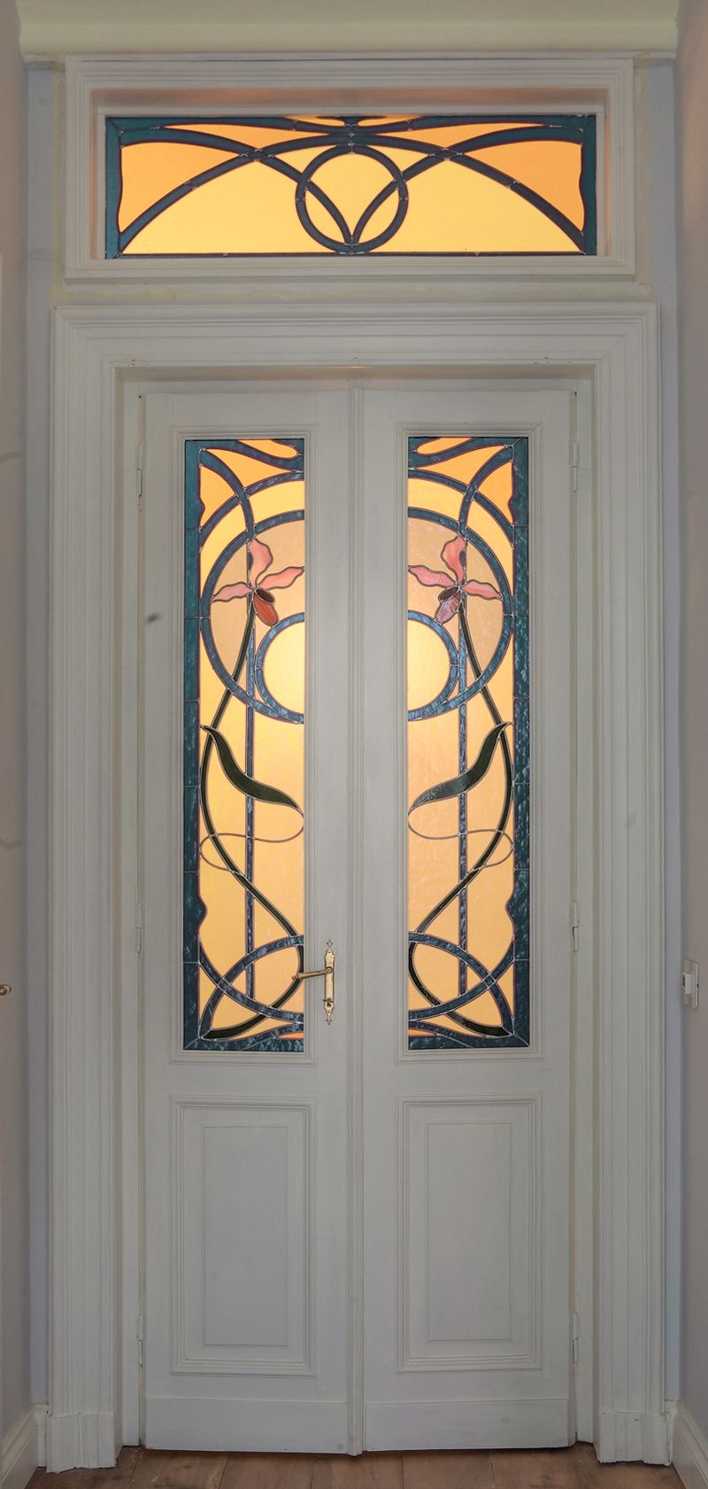 Porte A Vetri Decorate Con Vetrata Stile Liberty Monica