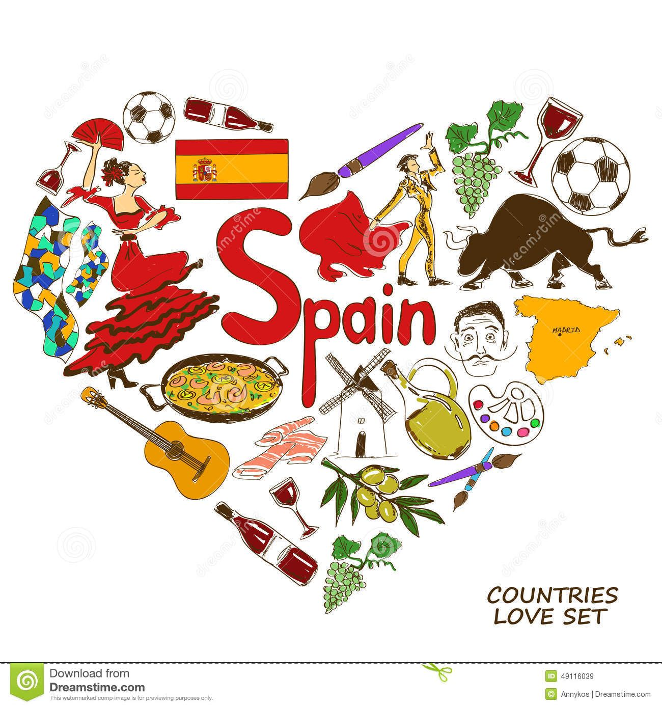 Spanish Symbols In Heart Shape Concept